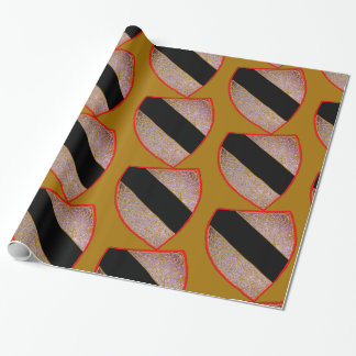 Black Stripe Crest Wrapping Paper