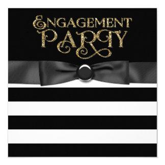 Black Stripe Engagement Party 13 Cm X 13 Cm Square Invitation Card