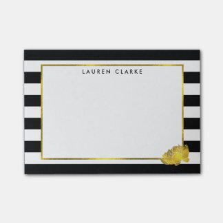 Black Stripe & Faux Gold Peony Post-it® Notes