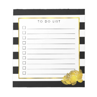 Black Stripe & Faux Gold Peony To Do List Notepad