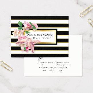 Black Stripe Floral Doves Wedding RSVP Card
