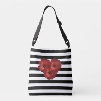 Black Stripe Flower Red -  Cross Body Bag
