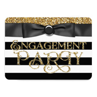 Black Stripe Gold Glitter Engagement Party 11 Cm X 16 Cm Invitation Card