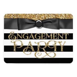 Black Stripe Gold Glitter Engagement Party 11 Cm X 16 Cm Invitation Card
