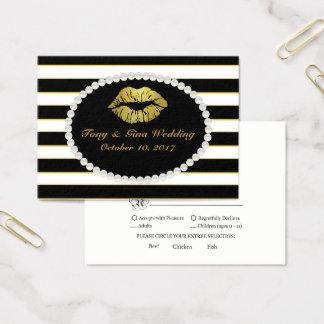 Black Stripe & Gold Lip Print Wedding RSVP Card