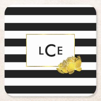 Black Stripe & Gold Peony Monogram Coasters Square Paper Coaster