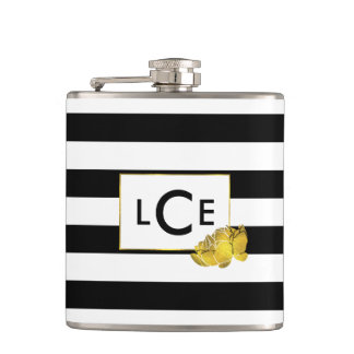 Black Stripe & Gold Peony Monogram Flask