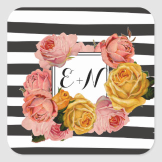 Black Stripe Heirloom Pink Yellow Roses Wedding Square Sticker