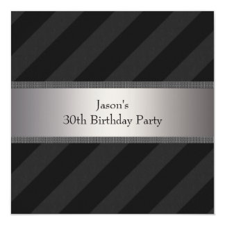 Black Stripe Mans 30th Birthday Party Card