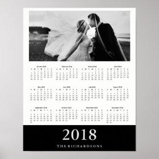 Black Stripe | Modern Minimal 2018 Photo Calendar Poster