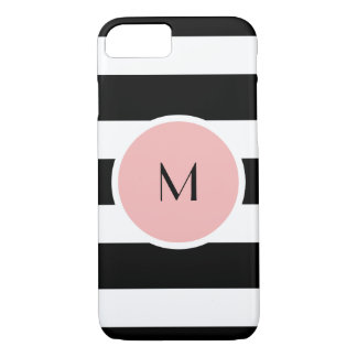 Black stripe monogram iPhone 7 Barely There Case