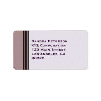 black stripe on purple business address label