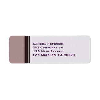 black stripe on purple business return address label