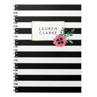 Black Stripe & Pink Floral Notebook