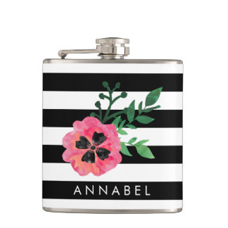 Black Stripe & Pink Floral Personalized Flask