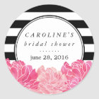 Black Stripe & Pink Peony Bridal Shower Classic Round Sticker
