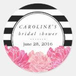 Black Stripe & Pink Peony Bridal Shower Round Sticker