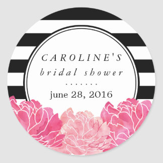 Black Stripe & Pink Peony Bridal Shower Round Sticker