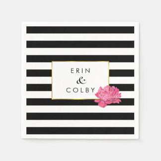 Black Stripe & Pink Peony Paper Napkins