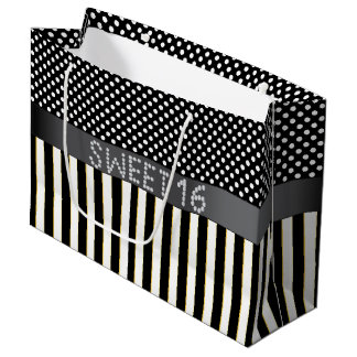 Black Stripe/Polka Dot Diamond Sweet 16 Gift Bag L