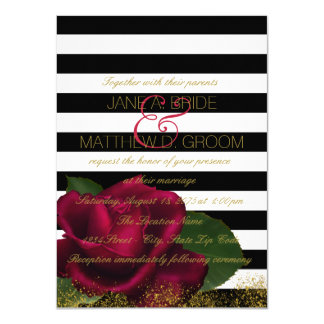 "Black Stripe Red and Black Wedding 4.5"" X 6.25"" Invitation Card"