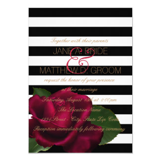 "Black Stripe Red and Black Wedding 5"" X 7"" Invitation Card"