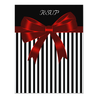 Black Stripe Red Bow Wedding RSVP Card