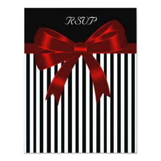 Black Stripe Red Bow Wedding RSVP Card