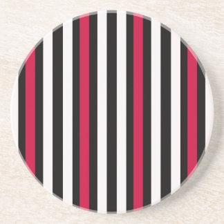 Black Stripe Red White Coaster