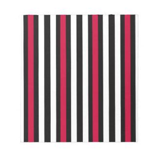 Black Stripe Red White Notepad