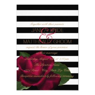 "Black Stripe Rose Red and Black Wedding 4.5"" X 6.25"" Invitation Card"