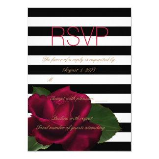 "Black Stripe Rose Red and Black Wedding RSVP 4.5"" X 6.25"" Invitation Card"