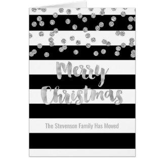 Black Stripe Silver Confetti Christmas New Address Card