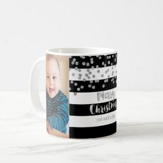 Black Stripe Silver Confetti Photo Merry Christmas Coffee Mug