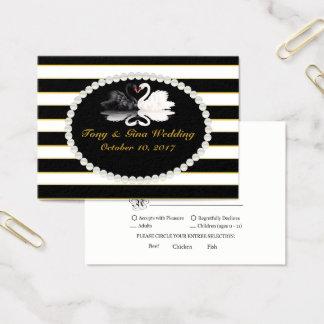 Black Stripe & Swans Wedding RSVP Card