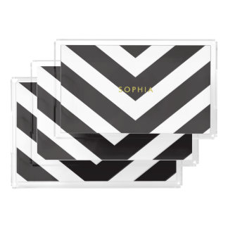 Black Stripe Vanity Tray Set (3) Personalized