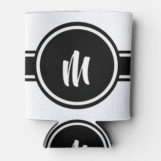 Black Striped Customizable Personalized Monogram Can Cooler