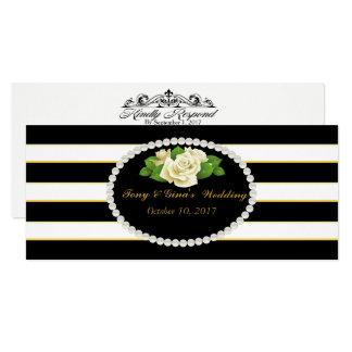 Black Striped & Rose Bouquet Wedding RSVP Cards