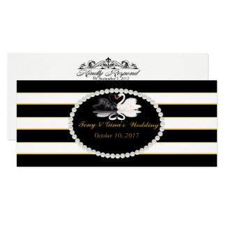Black Striped & Swans Wedding RSVP Cards