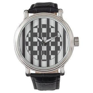 Black Stripes and Checkers Watch