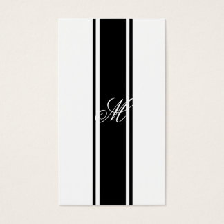 Black Stripes and Monogram Business Card