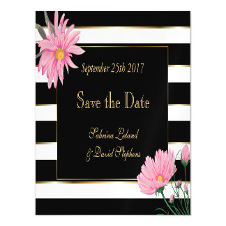 Black Stripes and Pink Chrysanthemum Save the Date Magnetic Invitations