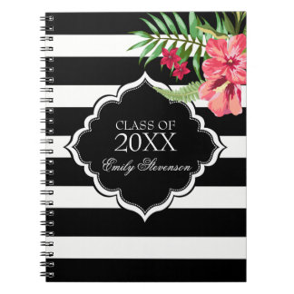 Black Stripes And Pink Hibiscus-Graduations Notebooks
