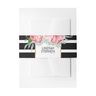 Black Stripes and Pink Peonies Modern Wedding Invitation Belly Band