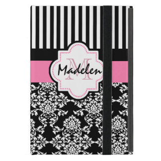 Black stripes and white damask cover for iPad mini