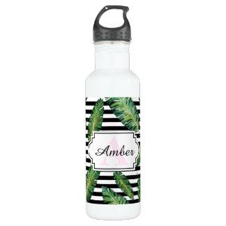 Black stripes banana leaf tropical summer pattern 710 ml water bottle
