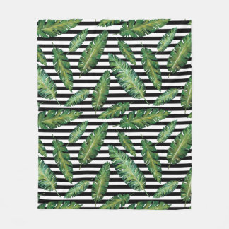 Black stripes banana leaf tropical summer pattern fleece blanket