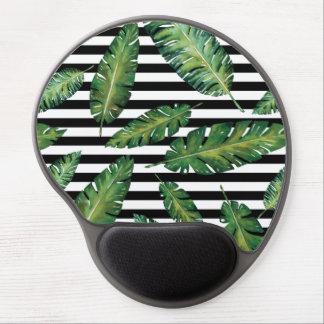 Black stripes banana leaf tropical summer pattern gel mouse pad