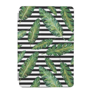 Black stripes banana leaf tropical summer pattern iPad mini cover