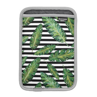 Black stripes banana leaf tropical summer pattern iPad mini sleeves